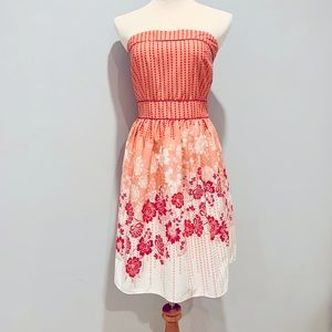 Alyn Paige Strapless Floral Dress Small